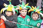 Alex Devine with Oscar and Joshua Kelly at the 2011 St.Patrick's Day Parade in Dunleer...(Photo credit should read Jenny Matthews/www.newsfile.ie)....This Picture has been sent you under the conditions enclosed by:.Newsfile Ltd..The Studio,.Millmount Abbey,.Drogheda,.Co Meath..Ireland..Tel: +353(0)41-9871240.Fax: +353(0)41-9871260.GSM: +353(0)86-2500958.email: pictures@newsfile.ie.www.newsfile.ie.