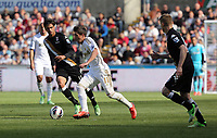 Pictured: (L-R) Bryan Ruiz, Pablo Hernandez, Damien Duff.<br />