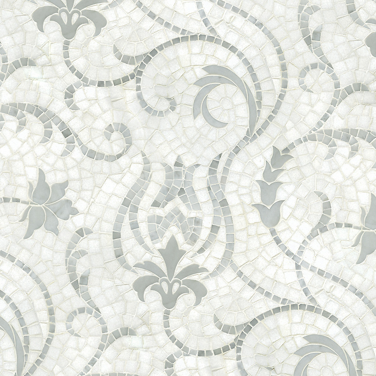 Ester, a waterjet and hand-cut stone mosaic, shown in hand-cut honed Thassos and polished Carrara.