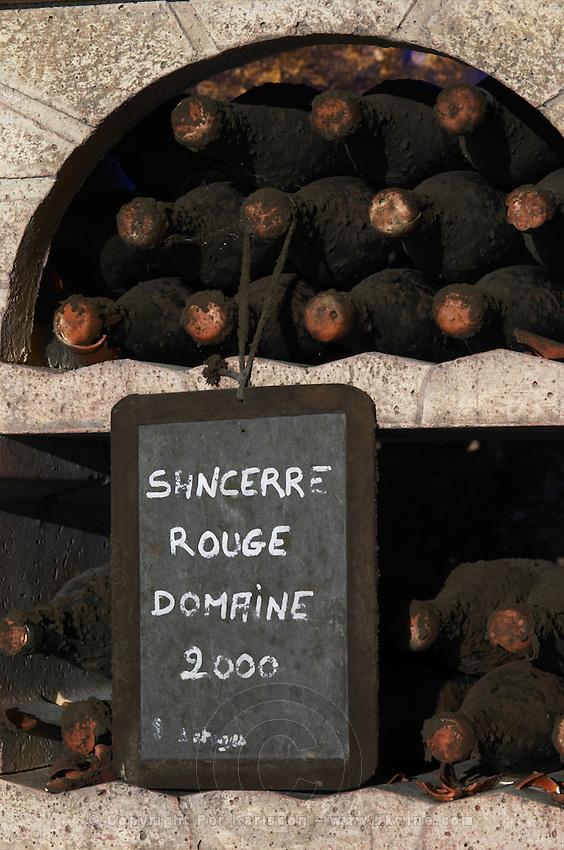 Bottles aging in the cellar. Red Domaine 2000. Domaine de la Perriere, Sancerre, Loire, France