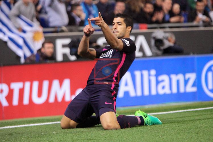 League Santander 2016/2017. Game: 35.<br /> RCD Espanyol vs FC Barcelona: 0-3.<br /> Luis Suarez.