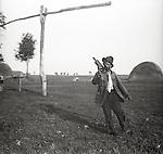 Drunken Hungarian farmer, Hortobagy, 1950