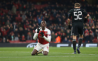 Despair for Arsenal's Eddie Nketiah after his goal was ruled out for offside<br /> <br /> Photographer Rob Newell/CameraSport<br /> <br /> UEFA Europa League Group E - Arsenal v FK Qarabag - Thursday 13th December 2018 - Emirates Stadium - London<br />  <br /> World Copyright &copy; 2018 CameraSport. All rights reserved. 43 Linden Ave. Countesthorpe. Leicester. England. LE8 5PG - Tel: +44 (0) 116 277 4147 - admin@camerasport.com - www.camerasport.com