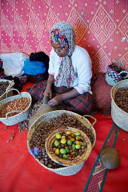 Women cracking Argan nuts at the Cooperative Marjana, Ounara, Essouira, Morocco