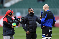 Matt Garvey of Bath Rugby is interviewed by Ugo Monye for BT Sport. Gallagher Premiership match, between Bath Rugby and Leicester Tigers on December 30, 2018 at the Recreation Ground in Bath, England. Photo by: Patrick Khachfe / Onside Images
