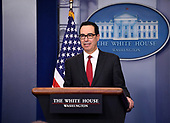 United States Secretary of the Treasury Steven Mnuchin talks about the new IRS withholding tables in the Brady Press Briefing Room of the White House in Washington, DC on Thursday, January 11, 2018.  Mnuchin said the new withholding tables will reflect the changes made by the GOP tax law, noting that 90 percent of wage earners will see greater take-home pay once they are implemented.<br /> Credit: Ron Sachs / CNP