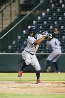 AZL Indians third baseman Wilbis Santiago (50) bats during a game against the AZL Angels on August 7, 2017 at Tempe Diablo Stadium in Tempe, Arizona. AZL Indians defeated the AZL Angels 5-3. (Zachary Lucy/Four Seam Images)