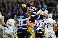Aled Brew of Bath Rugby looks to claim the ball in the air. Aviva Premiership match, between Bath Rugby and Exeter Chiefs on December 31, 2016 at the Recreation Ground in Bath, England. Photo by: Patrick Khachfe / Onside Images