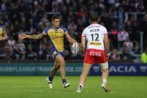June 29th 2017, Headingley Carnegie, Leeds, England; Betfred Super League; Leeds Rhinos versus St Helens; Joel Moon of Leeds Rhinos kicks the ball down the wing for field position
