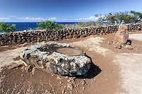 Sacrificial stone altar at Mo'okini Heiau, North Kohala, Big Island.