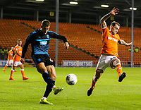 West Bromwich Albion U21's Kyle Howkins clears under pressure from Blackpool's Harry Pritchard<br /> <br /> Photographer Alex Dodd/CameraSport<br /> <br /> The EFL Checkatrade Trophy Northern Group C - Blackpool v West Bromwich Albion U21 - Tuesday 9th October 2018 - Bloomfield Road - Blackpool<br />  <br /> World Copyright &copy; 2018 CameraSport. All rights reserved. 43 Linden Ave. Countesthorpe. Leicester. England. LE8 5PG - Tel: +44 (0) 116 277 4147 - admin@camerasport.com - www.camerasport.com