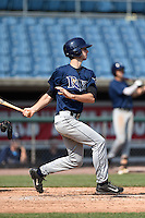 Kyle Tucker (19) of H.B. Plant High School in Tampa, Florida playing for the Tampa Bay Rays scout team during the East Coast Pro Showcase on August 2, 2014 at NBT Bank Stadium in Syracuse, New York.  (Mike Janes/Four Seam Images)