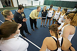 Wake Forest Demon Deacons head coach Jeff Wyshner talks to his team prior to their match against the Liberty Flames at the Wake Forest Indoor Tennis Center on March 11, 2017 in Winston-Salem, North Carolina. The Demon Deacons defeated the Flames 7-0.  (Brian Westerholt/Sports On Film)