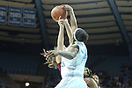 31 January 2013: North Carolina's Xylina McDaniel (34) blocks a shot by Florida State's Leonor Rodriguez (ESP) (behind). The University of North Carolina Tar Heels played the Florida State University Seminoles at Carmichael Arena in Chapel Hill, North Carolina in an NCAA Division I Women's Basketball game. UNC won the game 72-62.