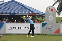 Thomas Pieters (Europe) on the 6th tee during the Saturday Foursomes of the Eurasia Cup at Glenmarie Golf and Country Club on the 13th January 2018.<br /> Picture:  Thos Caffrey / www.golffile.ie