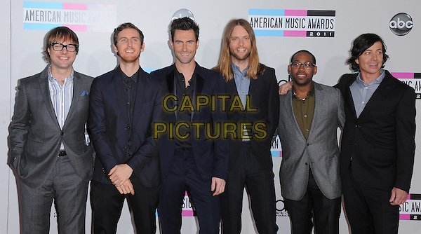 Maroon 5.2011 American Music Awards - Arrivals held at Nokia Theatre LA Live, Los Angeles, California, USA..November 20th, 2011.ama amas ama's half length black suit grey gray band group Adam Levine Jesse Carmichael Michael Madden.James Valentine Matt Flynn beard facial hair .CAP/RKE/DVS.©DVS/RockinExposures/Capital Pictures.