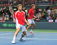 Switserland, Gen&egrave;ve, September 19, 2015, Tennis,   Davis Cup, Switserland-Netherlands, Doubles: Swiss team Marco Chiudinelli/Roger Federer (R)<br /> Photo: Tennisimages/Henk Koster