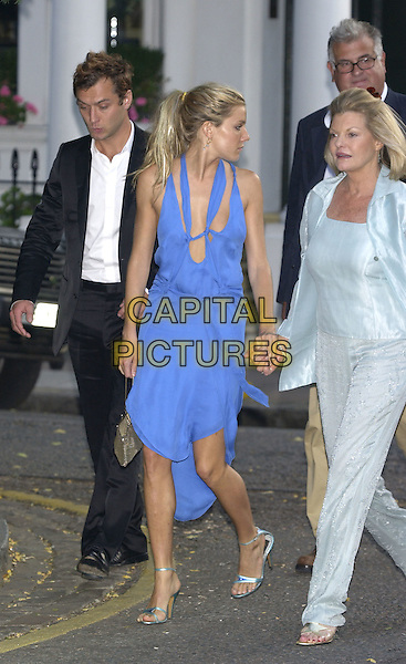 JUDE LAW , SIENNA MILLER & Sienna's mother.David Frost's Summer Party.London 6 July 2004..full length walking blue silk satin dress low cut revealing plinging neckline.Ref: PL.www.capitalpictures.com.sales@capitalpictures.com.©Capital Pictures