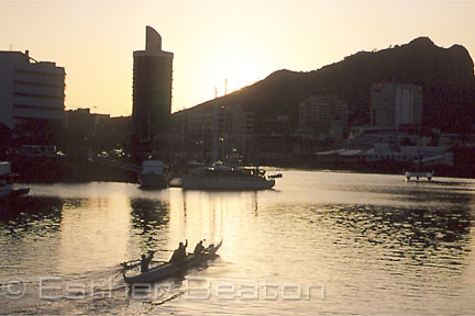Outrigger canoe on the ross river in evening. townsville, Queensland.
