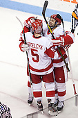 Matt Grzelcyk (BU - 5), Wade Megan (BU - 18) - The Boston University Terriers defeated the visiting Northeastern University Huskies 5-0 on senior night Saturday, March 9, 2013, at Agganis Arena in Boston, Massachusetts.