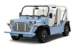 2019 Moke America eMoke Base 5 Door SUV angular front stock photos of front three quarter view