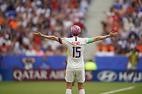 DECINES-CHARPIEU, FRANCE - JULY 07: Megan Rapinoe #15 during the 2019 FIFA Women's World Cup France Final match between Netherlands and the United States at Groupama Stadium on July 07, 2019 in Decines-Charpieu, France.