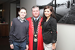 Mayor Paul Bell with Aaron and Dawn Finnegan at the Civic Reception for Louth GAA Team in the dHotel...Picture Jenny Matthews/Newsfile.ie