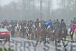 The riders battle through the misty rain at the start of the Muckross Hunt on Sunday..