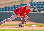 7 March 2013: Washington Nationals first baseman Matt Skole warms up in the infield prior to a Spring Training game against the Houston Astros at Osceola County Stadium in Kissimmee, Florida. The Astros defeated the Nationals 4-2 in Grapefruit League play. Mandatory Credit: Ed Wolfstein Photo *** RAW (NEF) Image File Available ***