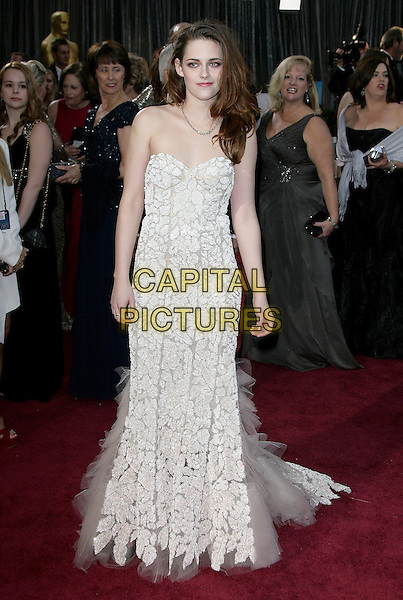 Kristen Stewart (wearing Reem Acra).85th Annual Academy Awards held at the Dolby Theatre at Hollywood & Highland Center, Hollywood, California, USA..February 24th, 2013.oscars full length white strapless dress sheer tulle detail lace .CAP/ADM.©AdMedia/Capital Pictures.