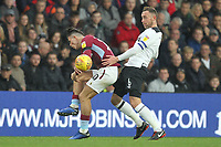 Derby County's Richard Keogh battles with  Aston Villa's Jack Grealish<br /> <br /> Photographer Mick Walker/CameraSport<br /> <br /> The EFL Sky Bet Championship - Derby County v Aston Villa - Saturday 10th November 2018 - Pride Park - Derby<br /> <br /> World Copyright &copy; 2018 CameraSport. All rights reserved. 43 Linden Ave. Countesthorpe. Leicester. England. LE8 5PG - Tel: +44 (0) 116 277 4147 - admin@camerasport.com - www.camerasport.com