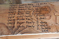 NWA Democrat-Gazette/FLIP PUTTHOFF<br />A tally of hunting success season after season, seen here Feb. 3 2018, is recorded on the rafters in the blind.