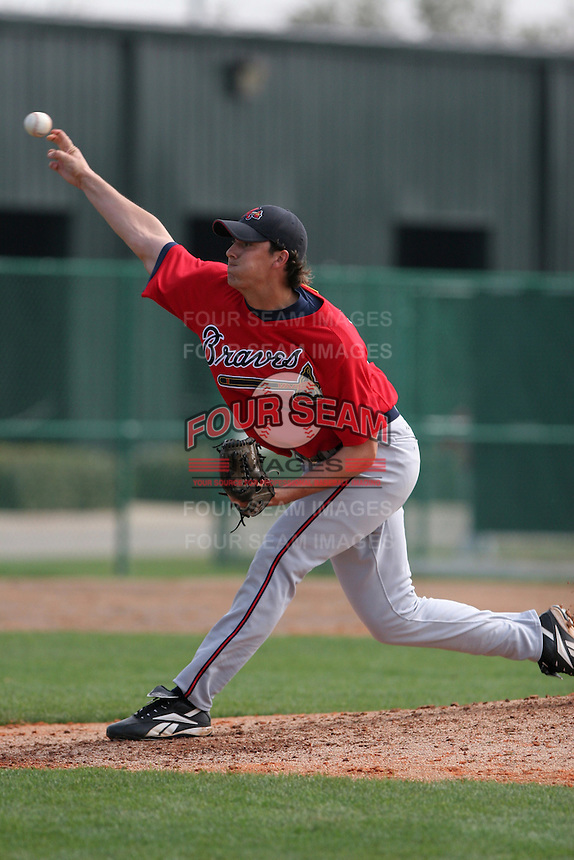 Atlanta Braves minor leaguer Charlie Morton during Spring Training at Disney's Wide World of Sports on March 14, 2007 in Orlando, Florida.  (Mike Janes/Four Seam Images)