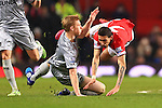 Ben Mee of Burnley fouls Angel di Maria of Manchester United - Manchester United vs. Burnley - Barclay's Premier League - Old Trafford - Manchester - 11/02/2015 Pic Philip Oldham/Sportimage