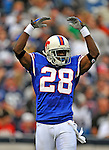 21 September 2008:  Buffalo Bills' cornerback Leodis McKelvin gets the crowd excited during a game against the Oakland Raiders at Ralph Wilson Stadium in Orchard Park, NY. The Bills defeated the Raiders 24-23 to mark their first 3-0 start of the season since 1992...Mandatory Photo Credit: Ed Wolfstein Photo