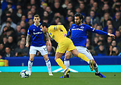 17th March 2019, Goodison Park, Liverpool, England; EPL Premier League Football, Everton versus Chelsea; Andre Gomes of Everton brings down Pedro of Chelsea of Chelsea