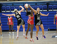 20.1.2014 New Zealand's Camilla Lees and Joline Henry compete for the ball with England's Ama Agbeze during their netball test match in London, England. Mandatory Photo Credit (Pic: David Klein). ©Michael Bradley Photography.