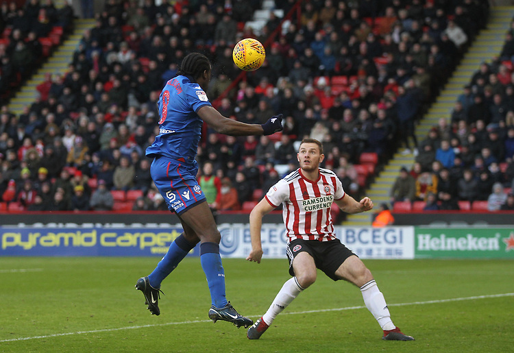 Bolton Wanderers Clayton Donaldson  fails to score from a header<br /> <br /> Photographer Mick Walker/CameraSport<br /> <br /> The EFL Sky Bet Championship - Sheffield United v Bolton Wanderers - Saturday 2nd February 2019 - Bramall Lane - Sheffield<br /> <br /> World Copyright © 2019 CameraSport. All rights reserved. 43 Linden Ave. Countesthorpe. Leicester. England. LE8 5PG - Tel: +44 (0) 116 277 4147 - admin@camerasport.com - www.camerasport.com