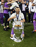Real Madrid's Karim Benzema celebrates with the trophy during the Champions League Final match at the Principality Stadium, Cardiff. Picture date: June 3rd, 2017. Pic credit should read: David Klein/Sportimage