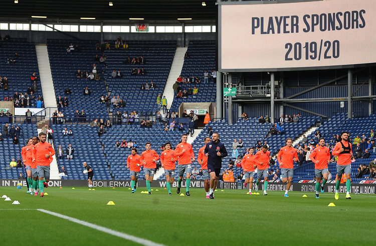 Blackburn Rovers during the pre-match warm-up <br /> <br /> Photographer Kevin Barnes/CameraSport<br /> <br /> The EFL Sky Bet Championship - West Bromwich Albion v Blackburn Rovers - Saturday 31st August 2019 - The Hawthorns - West Bromwich<br /> <br /> World Copyright © 2019 CameraSport. All rights reserved. 43 Linden Ave. Countesthorpe. Leicester. England. LE8 5PG - Tel: +44 (0) 116 277 4147 - admin@camerasport.com - www.camerasport.com
