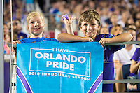 Orlando, Florida - Saturday, April 23, 2016: Young Orlando Pride fans display their banner proudly during an NWSL match between Orlando Pride and Houston Dash at the Orlando Citrus Bowl.