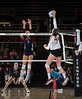 STANFORD, CA - December 1, 2018: Audriana Fitzmorris at Maples Pavilion. The Stanford Cardinal defeated Loyola Marymount 25-20, 25-15, 25-17 in the second round of the NCAA tournament.