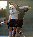 19/03/2005         Copyright Pic : James Stewart.File Name : jspa15_raith_v_falkirk.RAITH KEEPER DAVID BERTHELOT  GETS A THUMP ON THE FACE FROM MARK CAMPBELL...Payments to :.James Stewart Photo Agency 19 Carronlea Drive, Falkirk. FK2 8DN      Vat Reg No. 607 6932 25.Office     : +44 (0)1324 570906     .Mobile   : +44 (0)7721 416997.Fax         : +44 (0)1324 570906.E-mail  :  jim@jspa.co.uk.If you require further information then contact Jim Stewart on any of the numbers above.........A