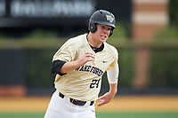 Gavin Sheets (24) of the Wake Forest Demon Deacons hustles towards third base against the Georgia Tech Yellow Jackets at David F. Couch Ballpark on March 26, 2017 in  Winston-Salem, North Carolina.  The Demon Deacons defeated the Yellow Jackets 8-4.  (Brian Westerholt/Four Seam Images)