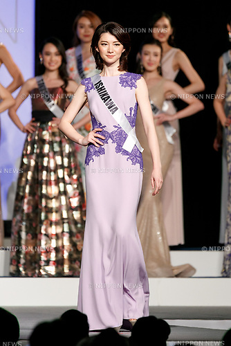 Miss Ishikawa, Misaki Tabata, competes in an evening gown during Miss Universe Japan competition at Hotel Chinzanso Tokyo on July 4, 2017, Tokyo, Japan. Momoko Abe from Chiba who won the title will represent Japan in the next Miss Universe competition. (Photo by Rodrigo Reyes Marin/AFLO)