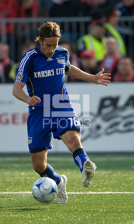 26 April 2009: Kansas City Wizards forward Josh Wolff #16 charges the net during an MLS game between Kansas City Wizards and Toronto FC..Toronto FC won 1-0. .
