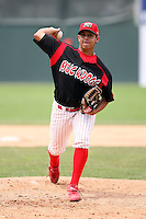 June 22nd 2008:  Pitcher Arquimedes Nieto (10) of the Batavia Muckdogs, Class-A affiliate of the St. Louis Cardinals, during a game at Dwyer Stadium in Batavia, NY.  Photo by:  Mike Janes/Four Seam Images