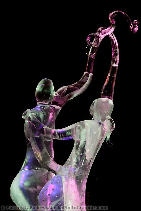 """Dance"" abstract single block ice sculpture by Gina Eaton and Paul Harris, USA. 2009 World Ice Art Championships, Fairbanks, Alaska."
