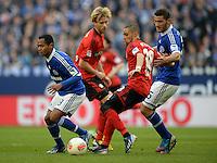 FUSSBALL   1. BUNDESLIGA   SAISON 2012/2013    29. SPIELTAG FC Schalke 04 - Bayer 04 Leverkusen                        13.04.2013 Raffael (li) und Sead Kolasinac (re, beide FC Schalke 04) gegen Sidney Sam (Mitte, Bayer 04 Leverkusen)
