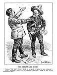 """The Invaluable Bogey. Trotsky. """"You don't really bear me so much ill-will, do you, comrade?"""" Stalin. """"Ill-will? Why, Even in Mexico, camarada, I will look on you as my right-hand man!"""" (Trotsky dressed as an armed Mexican with his 'Anti-Soviet Conspiracy' as Stalin attempts to embrace him amid the 'Moscow Sedition Trials')"""